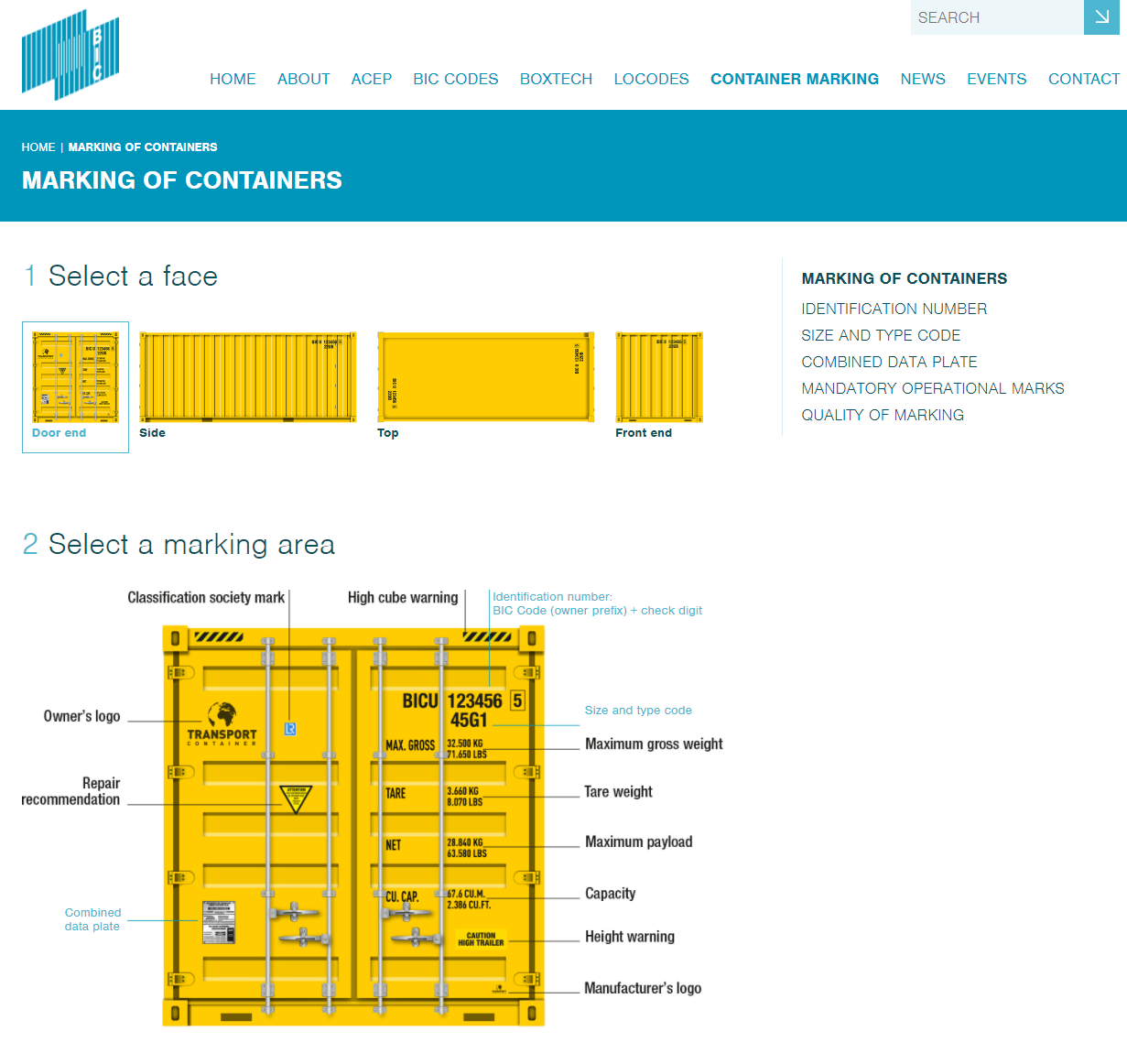 BIC Code Container Markings Section